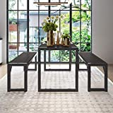 "Decok 3 Pieces XL Large Dining Table Set for 6 People,48 Inch Kitchen Table with Two 47"" Benches,Particle Board Top and Metal Frame,Perfect for Breakfast Nook, Living Room,Industrial, Black and Gray"