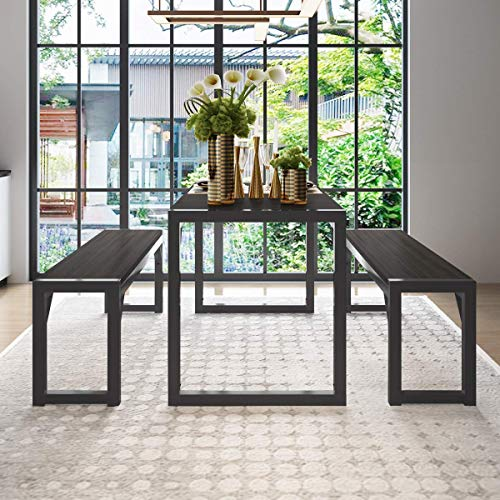 "Decok 3 Pieces XL Large Dining Table Set for 6 People,48 Inch Kitchen Table with Two 47"" Benches,Particle Board Top and Metal Frame,Perfect for Breakfast Nook, Living Room,Industrial, Black and Gray Nebraska"