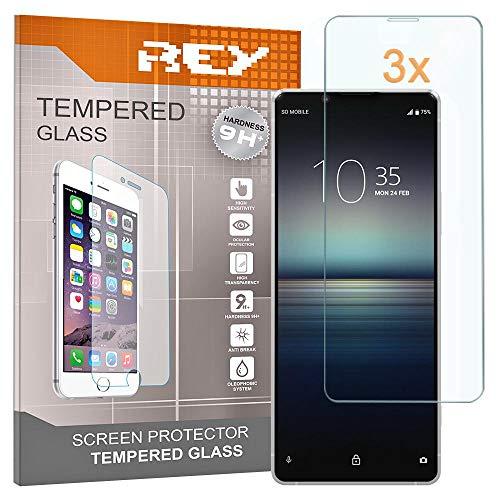 REY 3X Protector de Pantalla para Sony Xperia 1, Cristal Vidrio Templado...