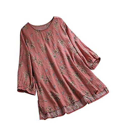T-Shirt à Manches 3/4 Femme Imprimé, 2021 Nouveau Mode Haut Tops à Manche Longue Col Rond pour Femmes, Casual Lâche Chemisier Tunique Blouse Décontractée Ample Sport Tee Shirt Grande Taille Pas Cher