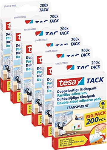 6 Packungen (1200 Pads) tesa doppelseitige Klebepads TACK Multipack