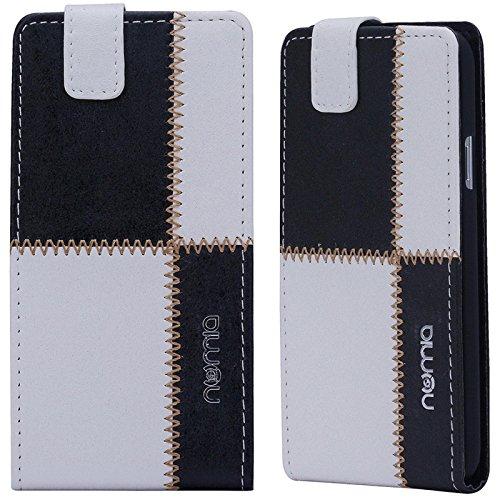 numia Huawei Ascend Y530 Hülle, Handyhülle Handy Schutzhülle [Handytasche mit Standfunktion & Kartenfach] Pu Leder Tasche fürHuawei Ascend Y530 Hülle Cover [Weiss-Schwarz]