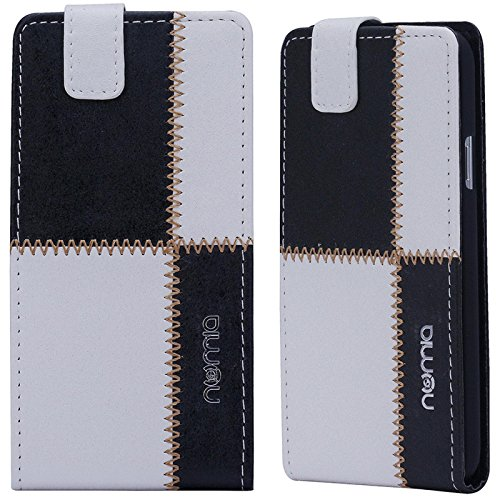 HTC Desire 310 Hülle, numia Handyhülle Handy Schutzhülle [Handytasche mit Standfunktion & Kartenfach] Pu Leder Tasche fürHTC Desire 310 Hülle Cover [Weiss-Schwarz]