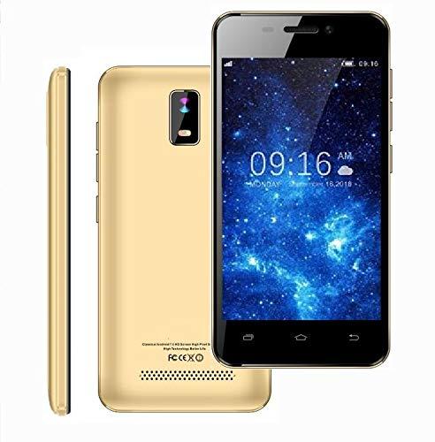 4.0 Pulgadas Telefono 4G/WiFi Movil Libre Barato HD IPS 1GB RAM 8GB ROM Dual SIM Dual Cámara (Oro) TEENO