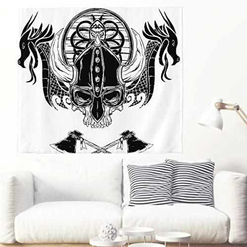 Tapiz celta monocromático con dos dragones y un calavera, de la serie tradicional, con cráneo vikingo y dragón 150 x 130 cm blanco