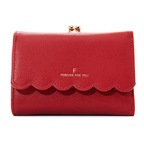 Kleine Süße Portmonee Damen Kleine Geldbörse Portemonnaie Kurzer Kleine Geldbeutel Große Kapazität Wallets (Rot)