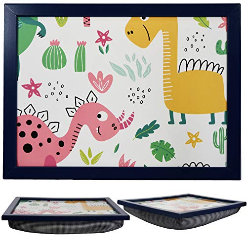 Large Wooden Soft Padded Cushioned Bean Bag Lap Dinner Laptop Food TV Tray (Dinosaurs)
