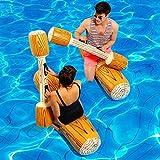IKDWD Flotador De La Piscina En Forma De Barco Conjunto Flotador De La Piscina Balsa Flotante Junta Gladiador Juego Inflable Deportes Acuáticos Parachoques Partido Hijos Adultos Juguete Brown