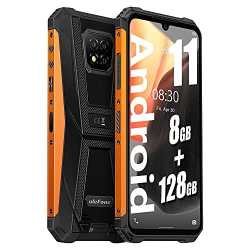 "Ulefone Armor 8 PRO(2021) Stoßfestes Android 11 4G Smartphone - Helio P60 Octa-Core 8 GB + 128 GB, 6,1"" HD+ IP68 Robustes Handy ohne Vertrag, 5580 mAh Akku, 16MP + 5MP Kamera, NFC GPS Orange"
