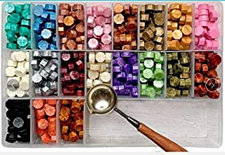 Sealing Wax Beads Packed in Plastic Box, with 1 PC Wax Melting Spoon for Wax Sealing Stamp (19 Colors) for wax sealing stamps