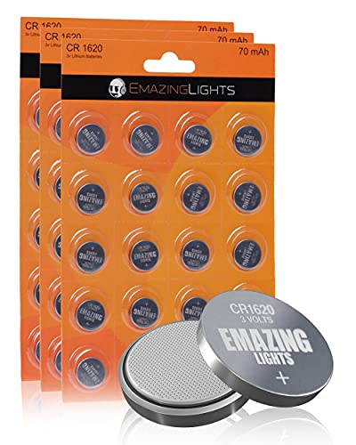 EmazingLights CR1620 Batteries 3 Volt Lithium Coin Cell 3V Button Battery (60 Pack)
