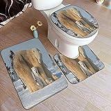 BIBOZHAO Juego de alfombras de baño de 3 Piezas,Madre Oso Polar...