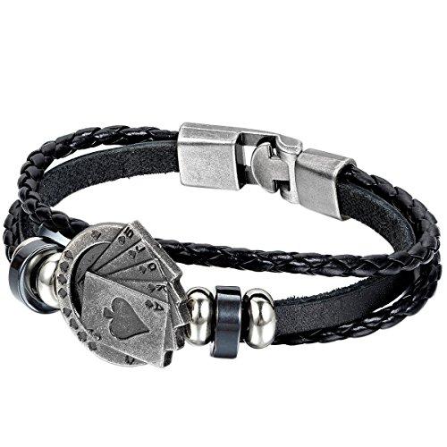 JewelryWe - Pulsera para hombre (trenzada, aleación cuero), diseño de cartas de póquer, color negro y plateado