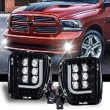 LED Fog Lights DRL for Dodge Ram 1500 2013 2014 2015 2016 2017 2018 Pair Black Daytime Running Light Passing Lamps Clear Lens