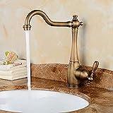 XDOUBAO Faucet Grifo de baño giratorio de lujo Grifo de lavabo dorado vintage Grifo mezclador de lavabo cromado Grifo de cocina de bronce de 360 grados Latón antiguo