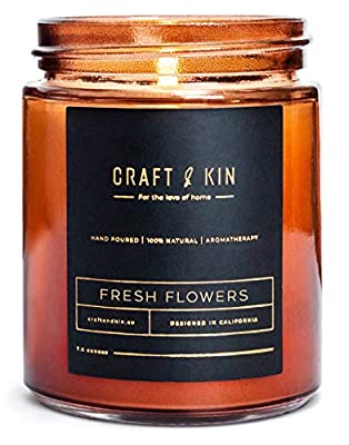 Craft & Kin Scented Candles Soy Candle - Rustic Scented Candle Soy Candles Amber Jar Candles Scented Natural Stress Relief Candle Apartment Essentials New Home Gift Ideas House Decor