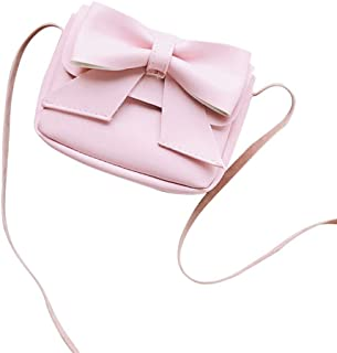 Wultia - New High Quality Children Girls Cute Bowknotl Leather Handbag Shoulder Bag Mini Bag Lovely Flap Clutch Pouch for Girl #M Pink