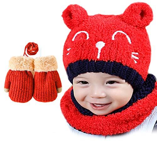 Bearbro Baby Kinder Winter Mütze Schal Handschuhen,Unisex-Baby Jungen Mädchen Mütze Warm Frühling Beanie Strickmütze Gemütlich Niedlich Wintermütze Schal Handschuhe Set 1-4 Jahre (Rot)