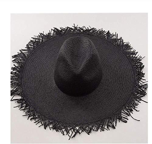 JIGFTC Cappello per Il Sole Signore UV Protezione Pieghevole della Spiaggia del Cotone Bucket Hat VacanzeNero