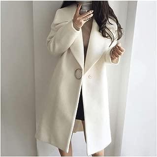 LUKEEXIN 2019 Thin Wool Blend Coat Women Long Sleeve Turn-down Collar Outwear Jacket Casual Autumn Winter Elegant Overcoat Leisure