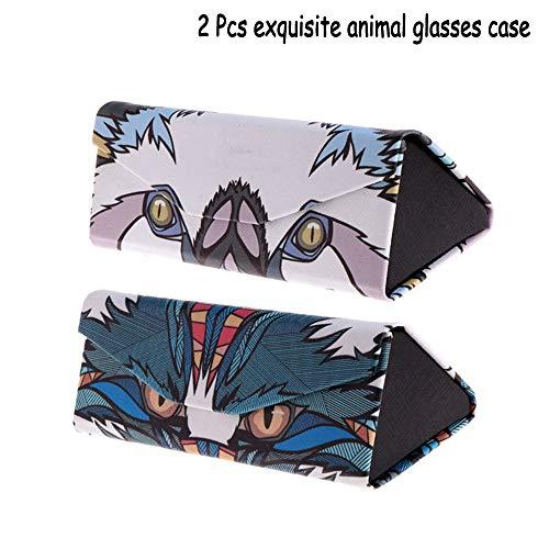 Funda Plegable para Gafas,Triángulo Plegable Soporte De Dibujos Animados Animales Caso De Las Gafas De Sol. Cuero De PU Líneas Elaboradas para Cualquier Empaque De Gafas