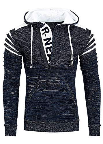 R-Neal Kapuzen-Pullover Herren Pullover Strick mit Kapuze Pulli Hoodie Zipper mit Front Brand Logo im Future Design 343, Farbe:Marine, Größe:S
