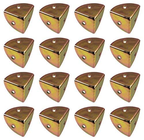 ALPENSTAHL Kistenecken abgerundet Möbel-Ecken Vintage | Metall Kantenschutz für Ecken, Truhen, Kisten, Koffer | Eckwinkel Stahl gelb passiviert | 16 Stück - Dreieck Schutz-Ecken Antik zum Schrauben
