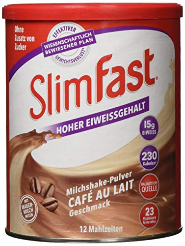 SlimFast Milchshake Pulver Café au Lait I Kalorienreduzierter Diät-Shake mit hohem Eiweißanteil I Diät-Pulver für eine gewichtskontrollierende Ernährung I Nur 230 Kalorien pro Protein-Shake I 438 g