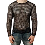 Men's Sexy Mesh Fishnet Fitted Top Long Sleeve Casual Transparent Shirt Tees Blouse (S, Black)