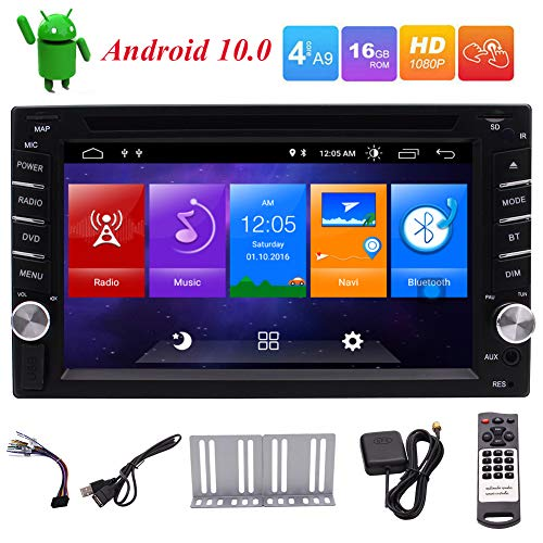 EINCAR Android 10.0 Car stereo Double Din Car Radio with Bluetooth GPS Navigation DVD Player 6.2 inch Touch Screen 2G/16G In Dash Support WiFi FM/AM Radio Mirror Link Steering Wheel Controls USB/SD