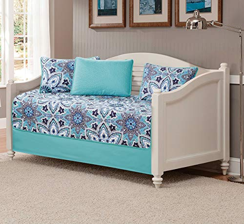 MK Home 5pc Daybed Set Quilted Bedspread Coverlet Floral Turquoise White Grey New