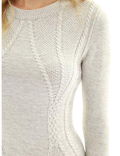 PattyBoutik Women Cotton Blend Crewneck Cable Knit Sweater (Heather Light Gray Small)