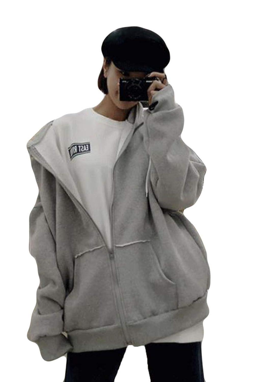 (ニカ) レディース パーカー ジャケット スタジャン 無地 シンプル ゆったり トレーナーパーカー 秋 冬 厚手 bf風 原宿風 ファスナー フード付き 韓国ファッション