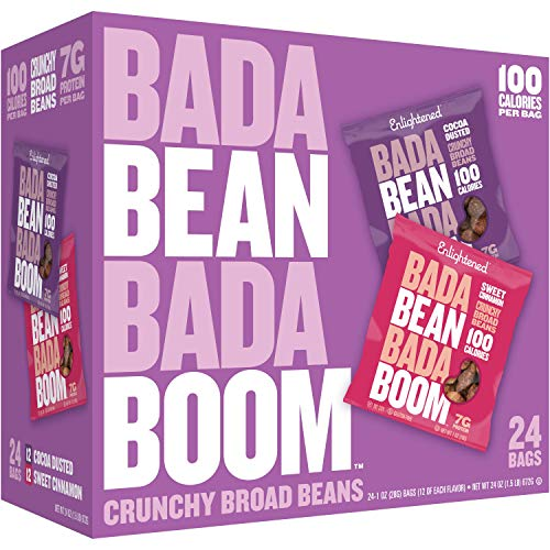 Bada Bean Bada Boom Plant-based Protein, Gluten Free, Vegan, Non-GMO, Soy Free, Kosher, Roasted Broad Fava Bean Snacks, 100 Calories per Bag, The Sweet Box Variety Pack, 1 Ounce (24 Count)