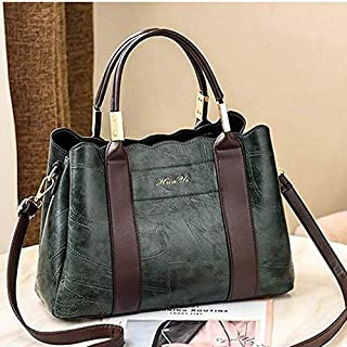 WTYD Single Shoulder Bag Leisure Fashion PU Slant Shoulder Bag Handbag(Black) (Color : Green)