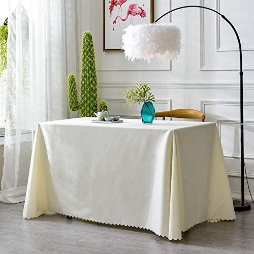 XQSSB Mantel de Mesa Rectangular para Cocina Durable Simple Uso Interior y Al Aire para Jardín Habitaciones Un Blanco de 160 × 260cm.