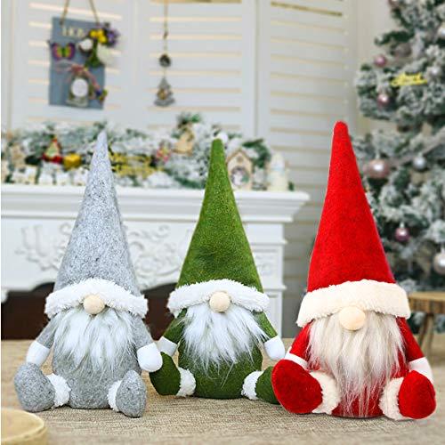 Leipple Christmas Gnome Plush Decorations - Handmade Swedish Tomte Scandinavian Santa Elf Ornaments - Gnome Christmas Decor for Home,Restaurants,Office - 3 Packs