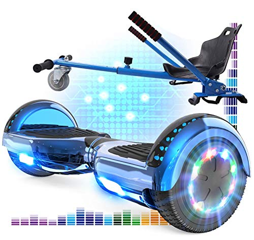 RCB Hoverboard 6.5 y Hoverkart Overboard con Bluetooth Patinete Eléctrico Scooter con Luces LED Asiento Sólido Juguete para...