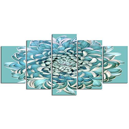 YOUMEISU Cuadro en Lienzo,5 Partes Pintura al óleo Flor de crisantemo Azul Floral Verde Azulado Turquesa Macro de Arte de Pared Decoración del Hogar para el Cartel Modular