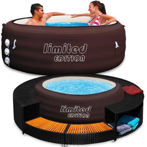 Bestway LAY-Z-SPA Whirlpool Limited 196x196cm Jacuzzi Whirlpool Spa beheizter Pool Outdoor und Pool Border Set