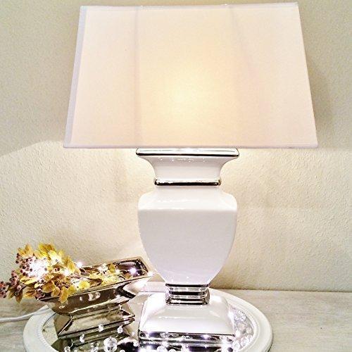 WHITE LADY Keramik Lampe 43cm Lampenfuß Lampenschirm Weiß Nachttischlamp Shabby