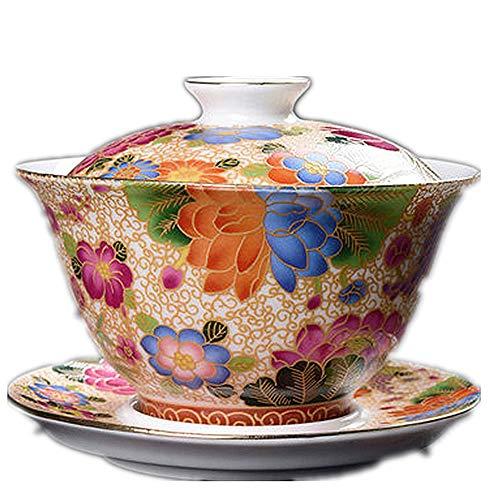 Tee-Set Kaffeetasse Keramik Emaille bemalt Deckel Schüssel große Teetasse Teetasse Topf Kung Fu Tee-Set Zubehör B 150ml