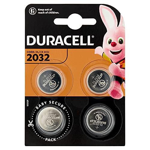 Duracell 2032 Pile bouton lithium 3V, lot de 4, avec Technologie Baby Secure, pour porte-clés, balances et dispositifs portables et médicaux (DL2032/CR2032)