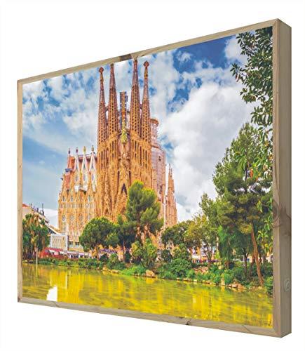 CCRETROILUMINADOS Cartel Vintage Iluminado con Luz Leds Sagrada Familia Barcelona