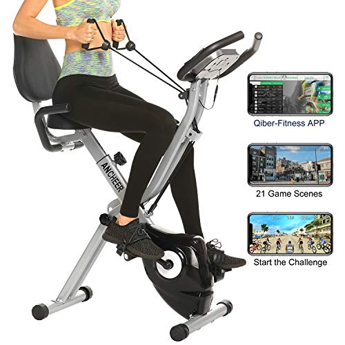 ANCHEER As Seen On TV 3-in-1 Stationary Bike - Folding Indoor Exercise Bike with APP and Heart Monitor - Perfect Home Exercise Machine for Cardio (Silver)