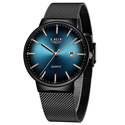 LIGE Herren Uhren Ultra Thin Simple Fashion Analog Quarzuhr Herren Schwarz Edelstahl Wasserdicht Armbanduhr Damen Minimalist Datum Blau Uhr