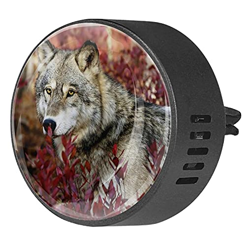Difusor de aromaterapia para coche,Wolf otoño bosque hojas ,Clip de ventilación de desodorante de área redonda 2PCS Aceite esencial para difusor de automóvil