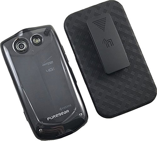 Clear Transparent Hard Case Cover + Nakedcellphone Black Belt Clip Holster for Verizon Kyocera Brigadier E6782