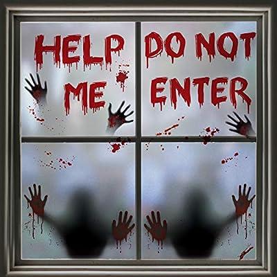 60 PCS Halloween Window Clings Halloween Window Stickers, Halloween Window Silhouette Poster for Windows Glass Walls