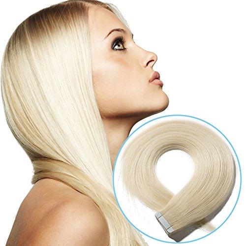 Extension Capelli Veri Biadesive Biondo Platino #60 Remy 20 Fasce 40cm 30g Tape in Human Hair Extensions Invisibile Riutilizzabili Lisci
